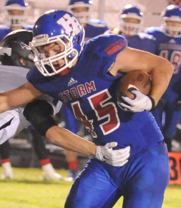 High Plains Community senior Josh Demers (45) ran for a whopping 326 yards and scored seven touchdowns in the Storm's record-setting playoff win against Howells-Dodge. (R-N Photo by Matthew Jensen)