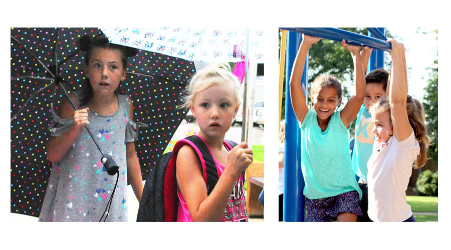 The 2017-18 school term got underway at local schools this week. Above, Adilyn (left) and Isabelle Deibert check in at Central City Elementary while at right Anisha McRay-Luce (left), Noah Creutzberg, and Lucy Perry enjoy their first go at recess on the Nebraska Christian playground.